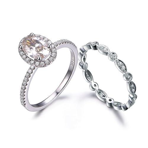 Amazon.com: MYRAYGEM-Juego de anillos de boda de 2 piezas ...