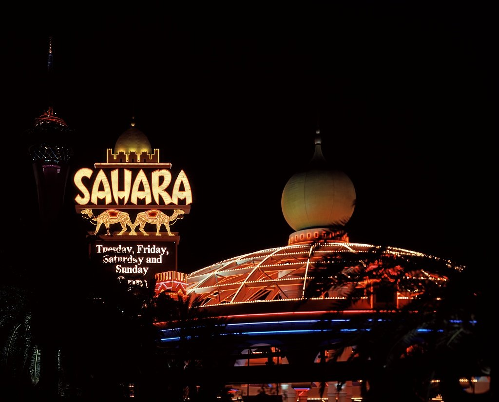24 x 36 Giclee print of The Sahara Hotel and Casino replaced the old Club Bingo in Las Vegas on a Strip location so empty that airplanes landed there r17 [between 1980 and 2006] by Highsmith, Caro by Vintography