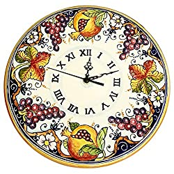 CERAMICHE D'ARTE PARRINI - Italian Ceramic Wall Round Clock Grape Art Pottery Hand Painted Decorated Grape Made in ITALY Tuscan