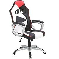WOLTU® Racing Chaise de Gaming,Chaise de Bureau Fauteuil de Direction Cuir Simili siège Ergonomique Hauteur réglable avec mécanisme d'inclinaison,BS07ws-1 Blanc