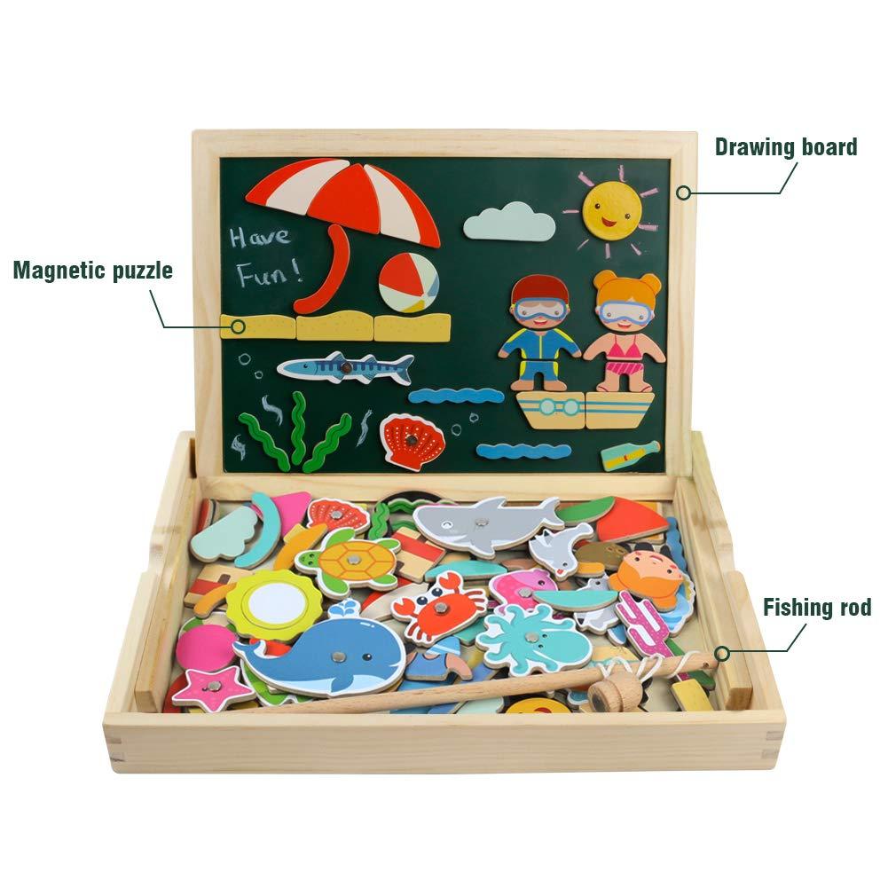 Pizarra Magnética Rompecabezas Madera Tablero de Dibujo de Doble Cara Juguete Educativo para Niños 3 4 5 Años