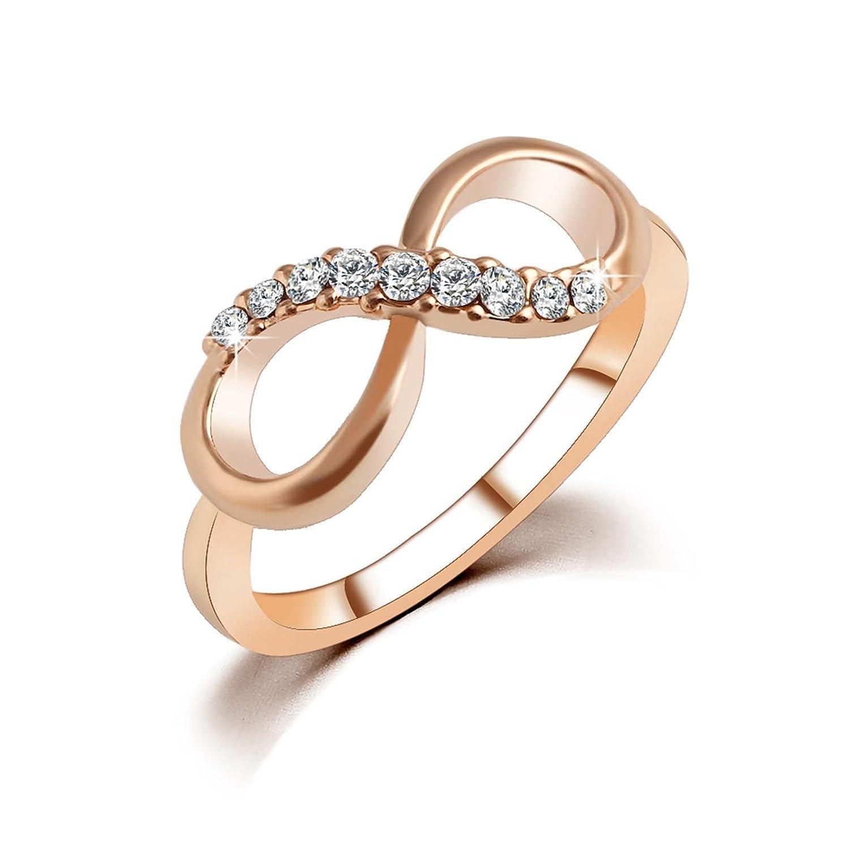 VANKER Bijoux Fantaisie Numéro 8 Rose Plaqué Or Infini Cristal Bague avec Zircon Taille: 9