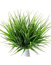 MIHOUNION 4 Pcs Plantas verdes artificiales de plástico hojas falsas plantas de simulación decoración hogar cocina oficina jardín