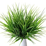 MIHOUNION 4 Bouquets Realistic Artificial Plants Fake Wheat Grass Greenery Artificial Plastic Shrubs for Outdoors Home Table Kitchen Office Wedding Garden Grave Decorations