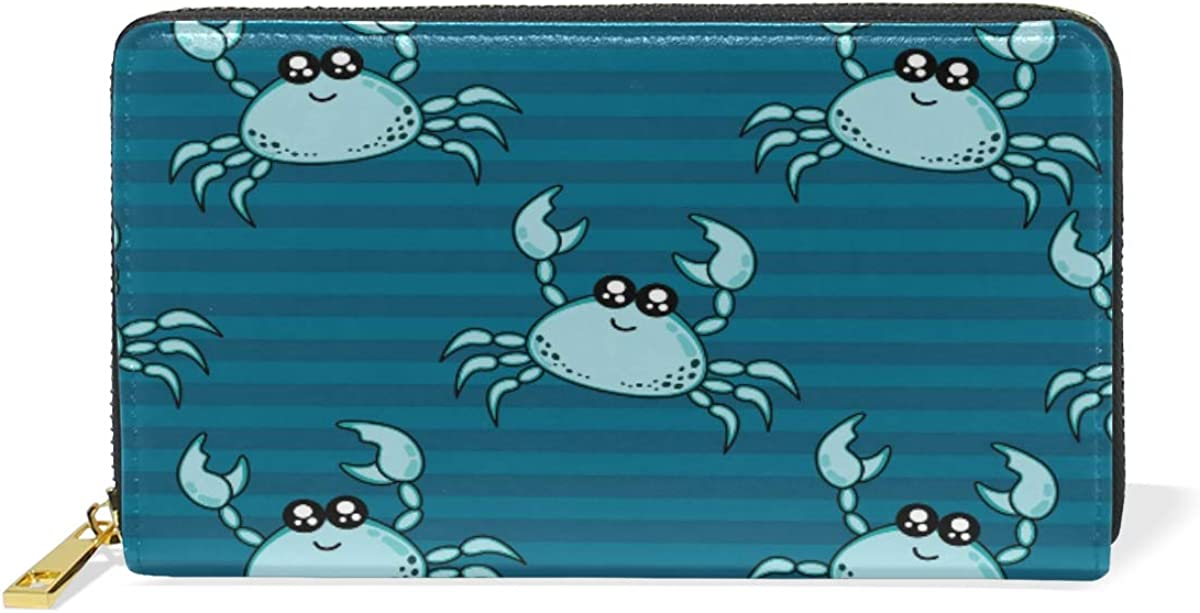 Cute Crab Line Stripe Leather Womens Zipper Wallets Clutch Coin Case