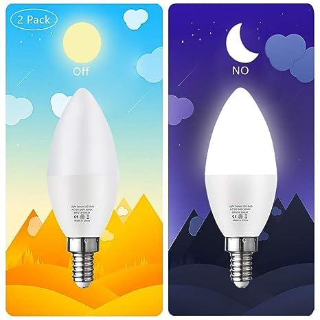 Bombilla a la luz del crepúsculo, E14 Bombilla del sensor de los candelabros Bombillas automáticas