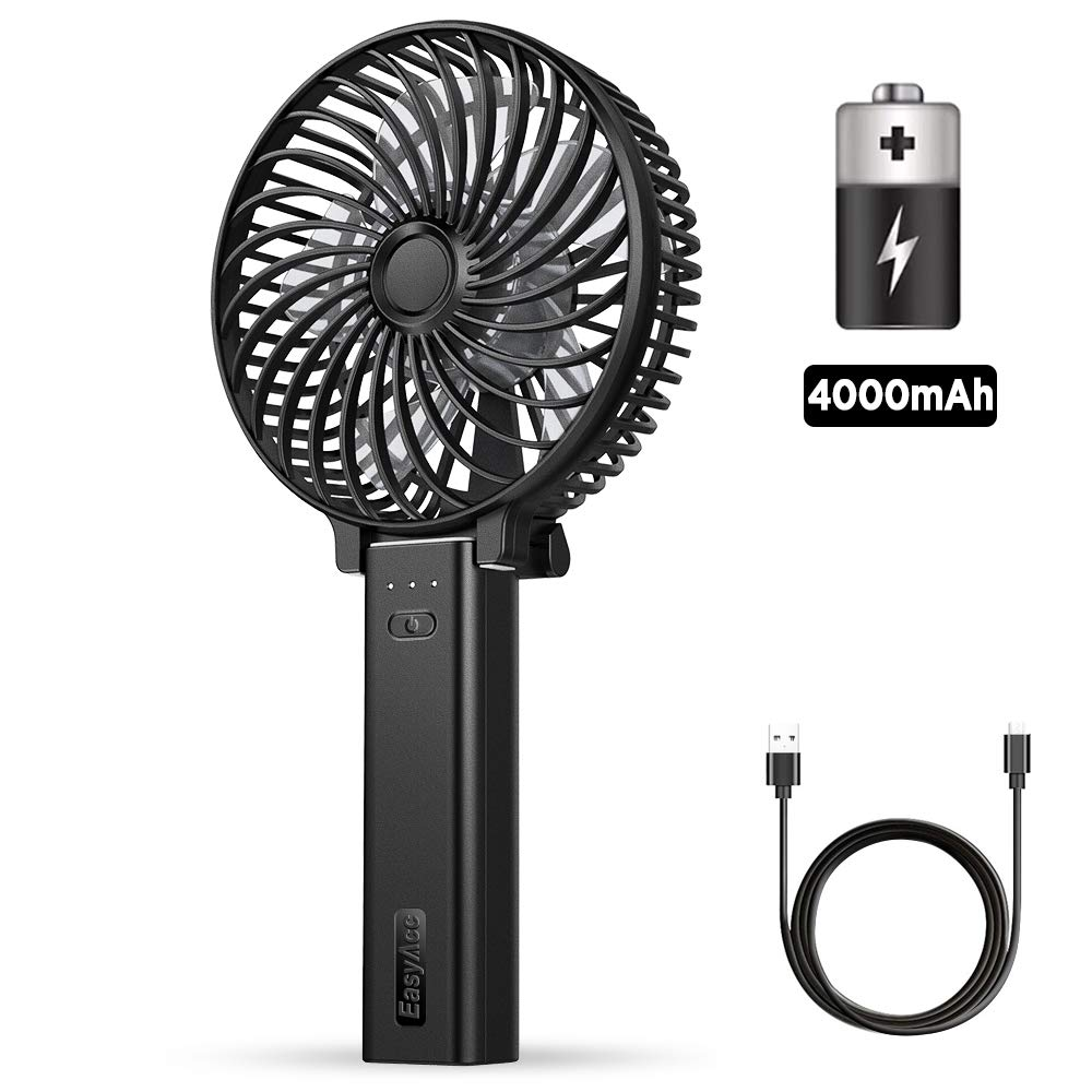 EasyAcc Handheld Fan Mini USB Fan with 4000mAh Rechargeable Battery Operated 23Hours 3 Speeds Quiet Powerful Personal Fan Portable Folding Cooling Small Fan for Stroller Travel Office Outdoor