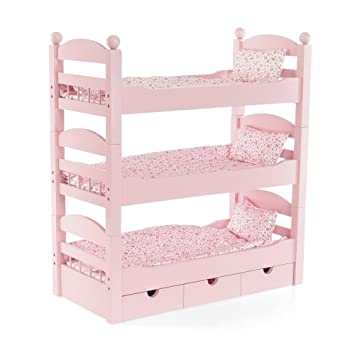 18 Inch Doll Furniture | Lovely Triple Bunk Bed, Includes 3 Stackable  Single Beds,