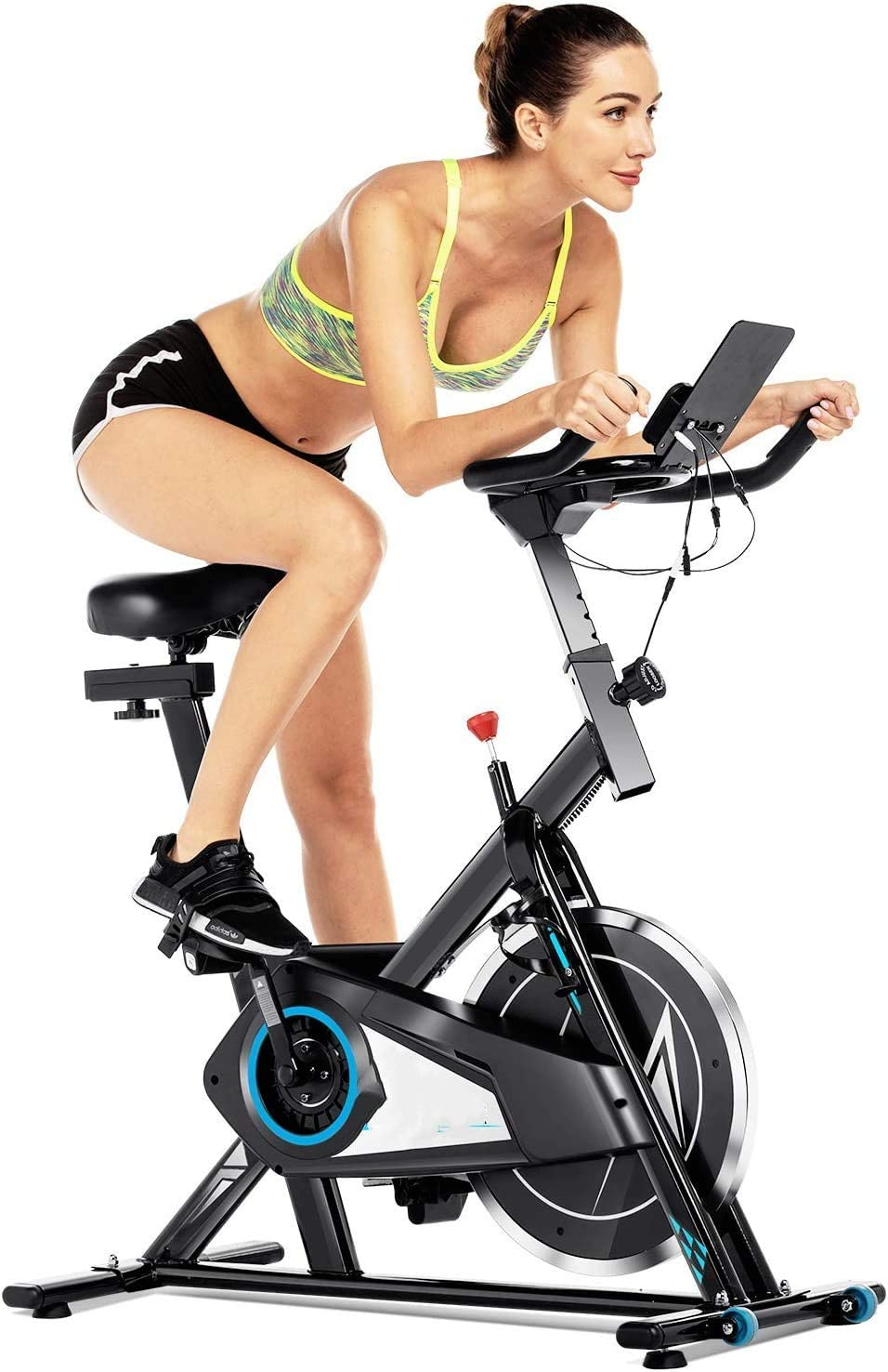 FUNMILY Indoor Cycling Bike Stationary, Silent Belt Drive Cycle Bike Exercise Bike with APP Control, Heart Rate, LCD Monitor, Adjustable Seat and Handlebars for Home Cardio Workout Training Black