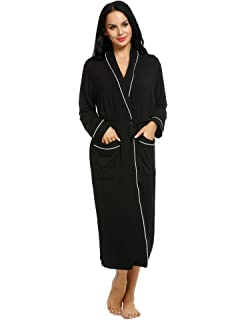 27d22d6d56 Ekouaer Bath Robes Womens Soft Knit Sleepwear Kimono Collar Long Loungwear  S-XXL