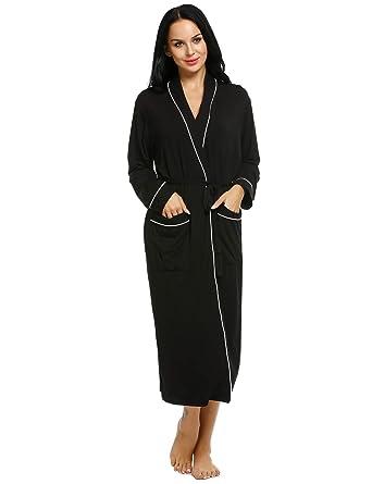 Ekouaer Robe Womens Comfort Spa Bathrobe Long Solid Sleepwear Loungewear 16f3252a7