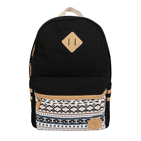 Backpack Mochilas Escolares,Marsoul Mujer Mochila Escolar Lona Grande Bolsa Estilo Étnico Vendimia Casual Colegio