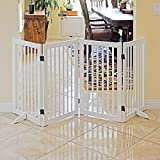 WELLAND Freestanding Wood Pet Gate White, 72-Inch Width, 30-Inch Height (No Support Feet)
