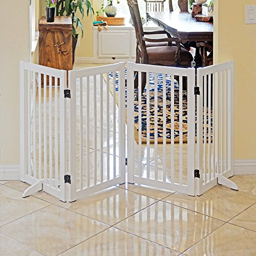 Panel Freestanding 4 Gate (WELLAND Freestanding Wood Pet Gate White, 72-Inch Width, 30-Inch Height (No Support Feet))