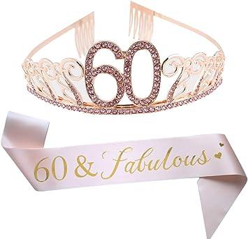 Amazon.com: Tiara y lazo rosa de 60 cumpleaños, cinta de ...