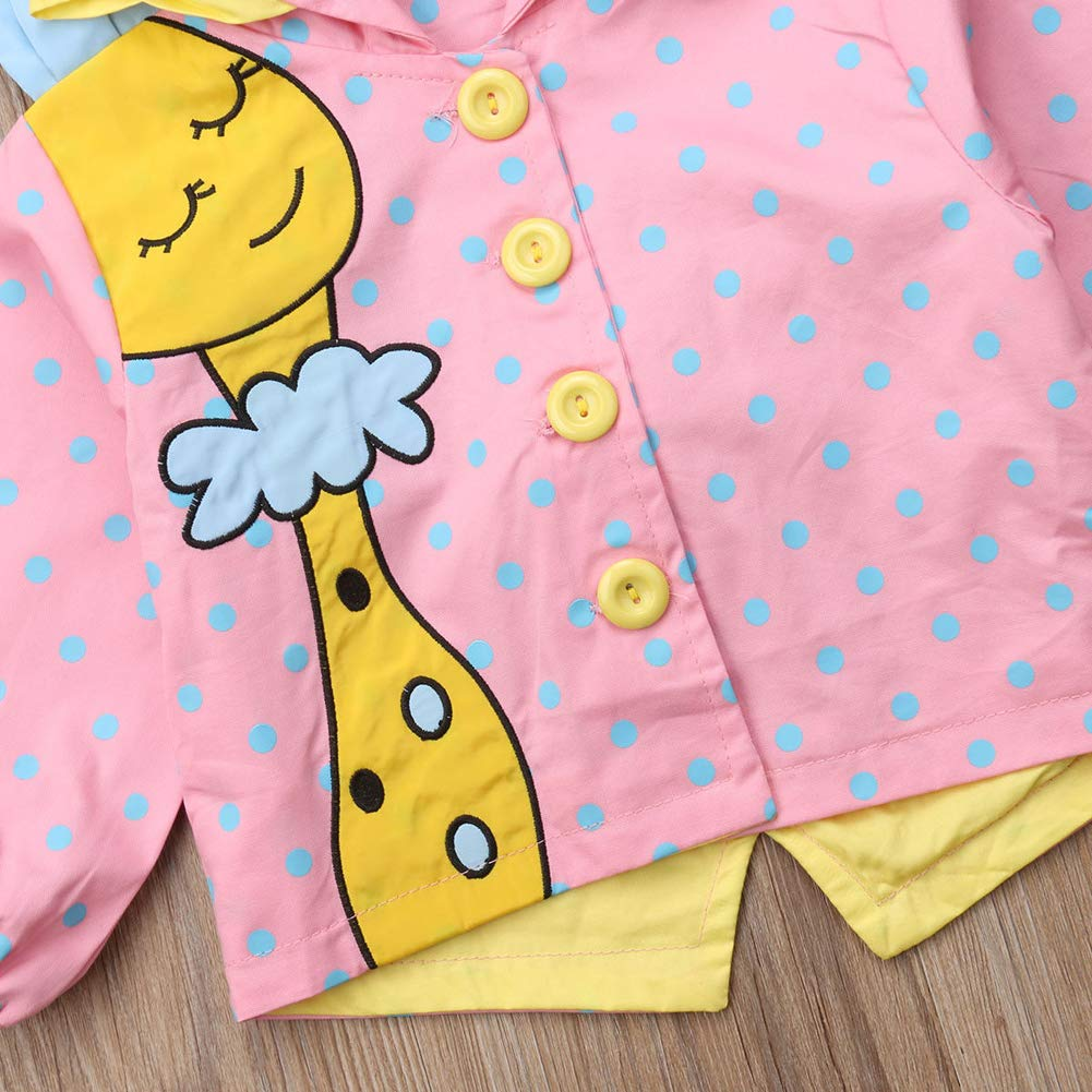 xiaodriceee Newborn Baby Girl Long Sleeve Jacket Cartoon Giraffe Polka Dots Hooded Coats Outerwear Clothes