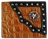 Mens Leather Western Cowboy Texas Star Rodeo Wallet Stud Tooled