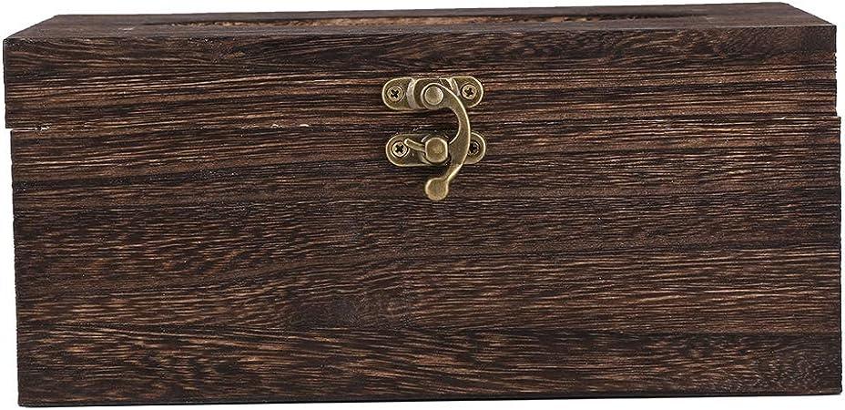 Retro Stil Taschentuchbox aus Holz N/ützliche Papier Serviette Inhaber Fall f/ür Badezimmer Schlafzimmer B/üro Auto #1 Braun