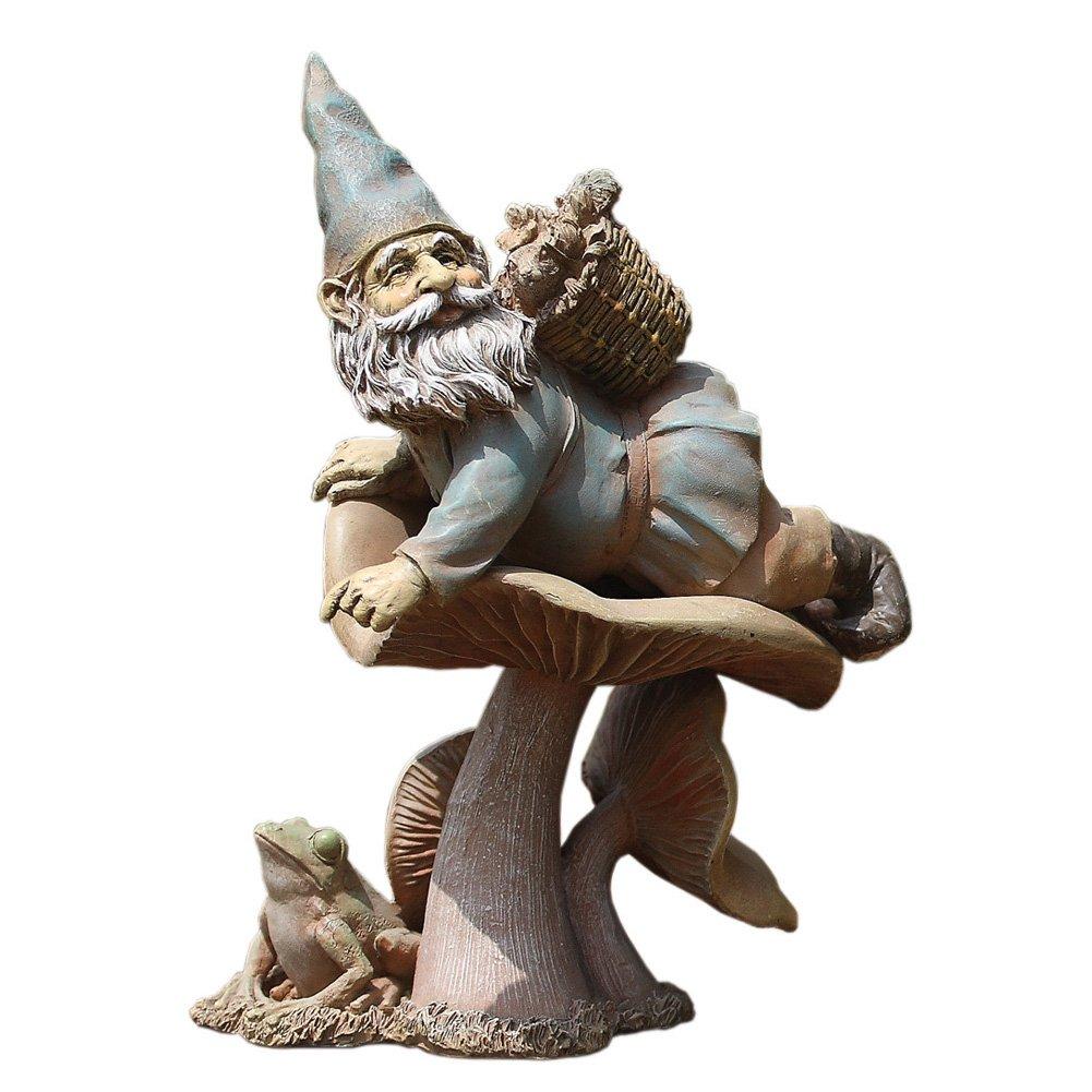 Gnome on Toadstool 11 Inch Resin Decorative Indoor Outdoor Garden Statue Figurine