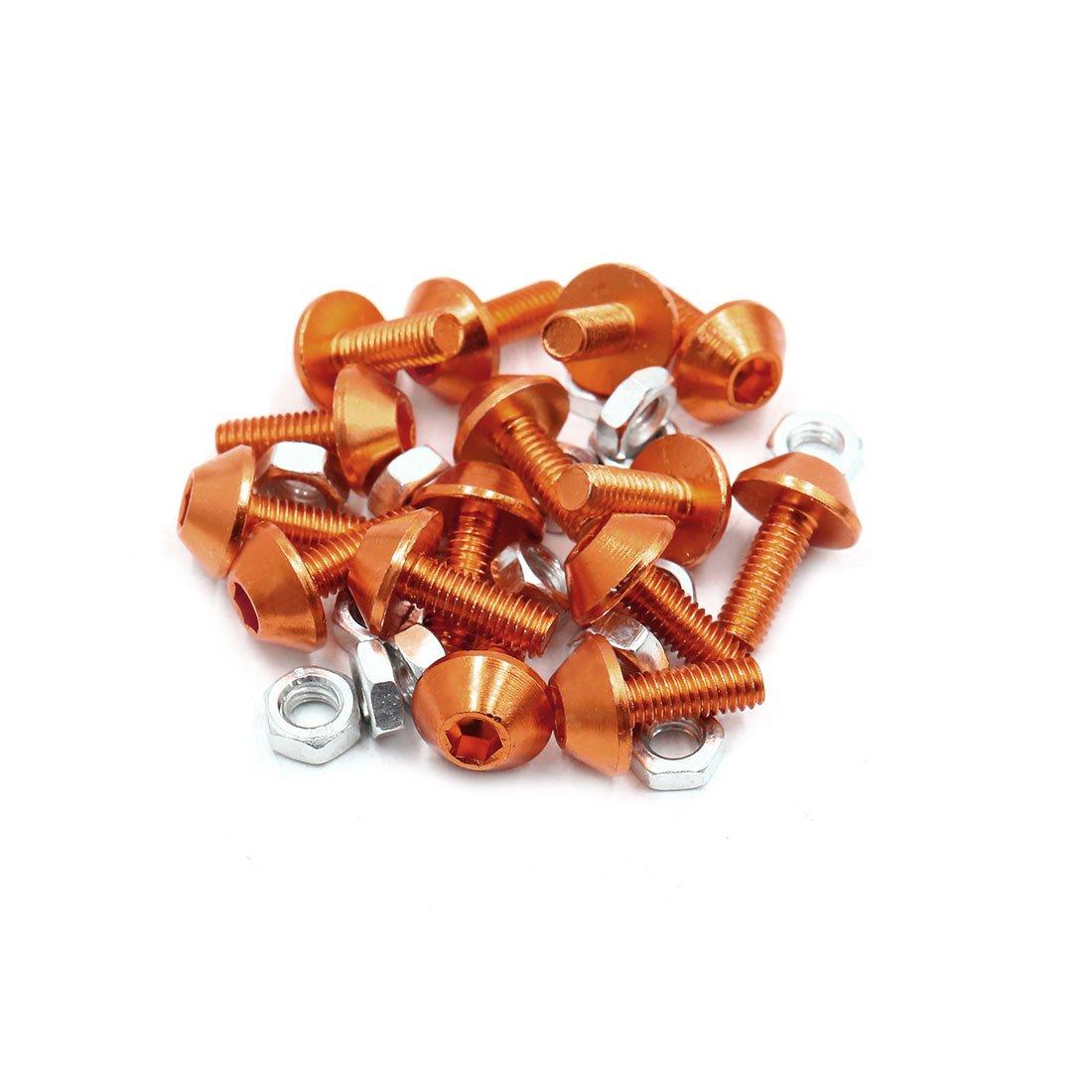 uxcell 15Pcs M6 Aluminum Alloy Hex Socket Head Motorcycle Bolts Screws Nuts Orange