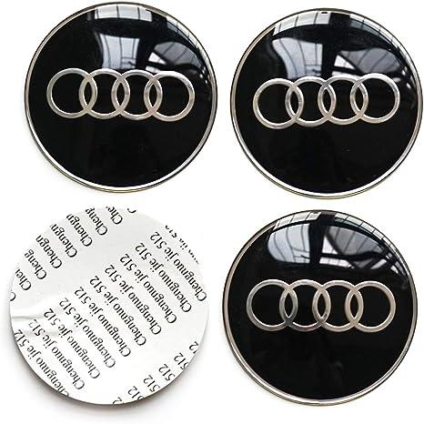 Black 4Pcs for Audi Logo Emblem Badge Sticker Wheel Centre Hub Caps Cover and 1 Set Metal Car Wheel Tire Valve Stem Caps with Key Chain Combination Set,fit for Audi