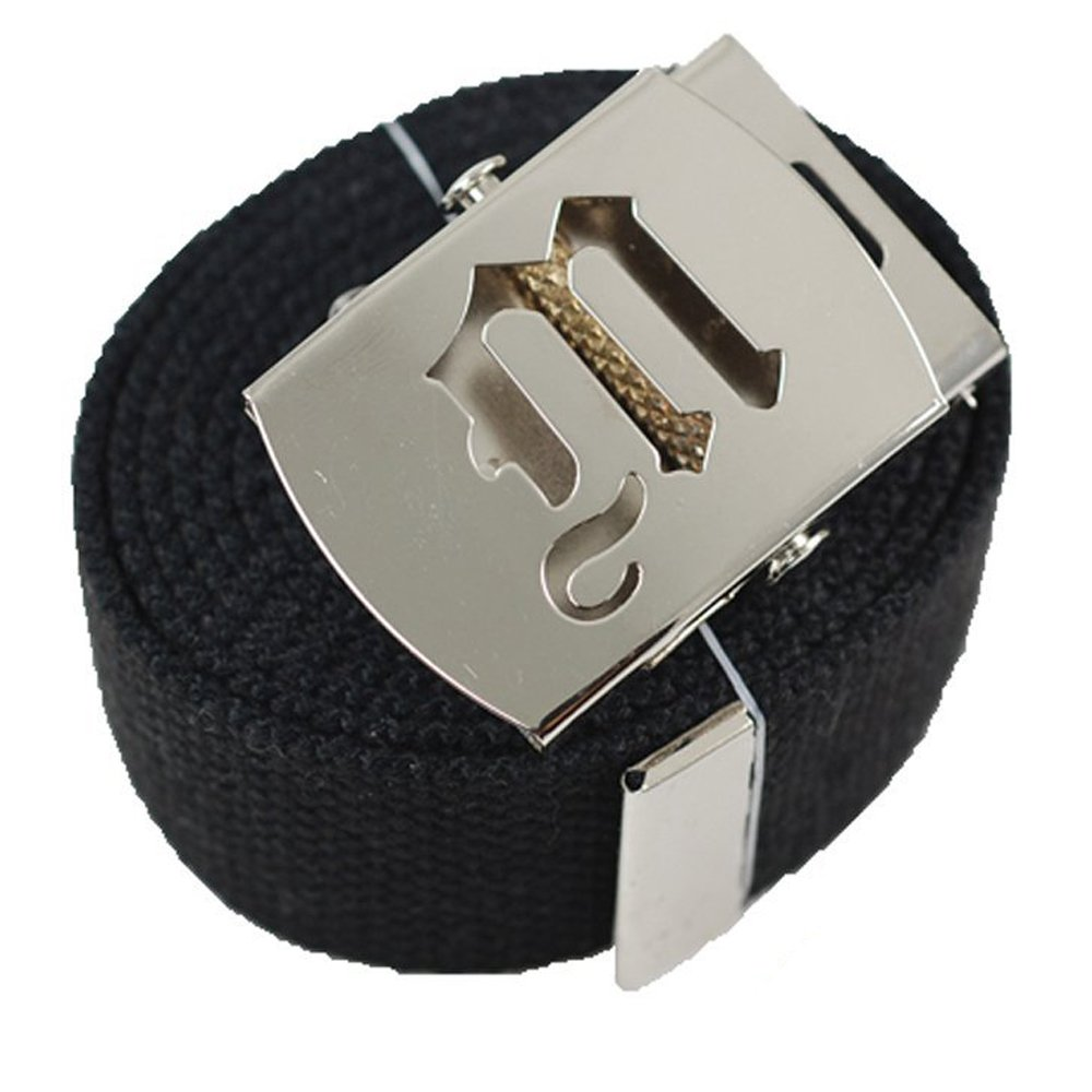 Old English Initial M Canvas Military Web Black Belt & Silver Buckle 60 Inch ACCmall Cho -1