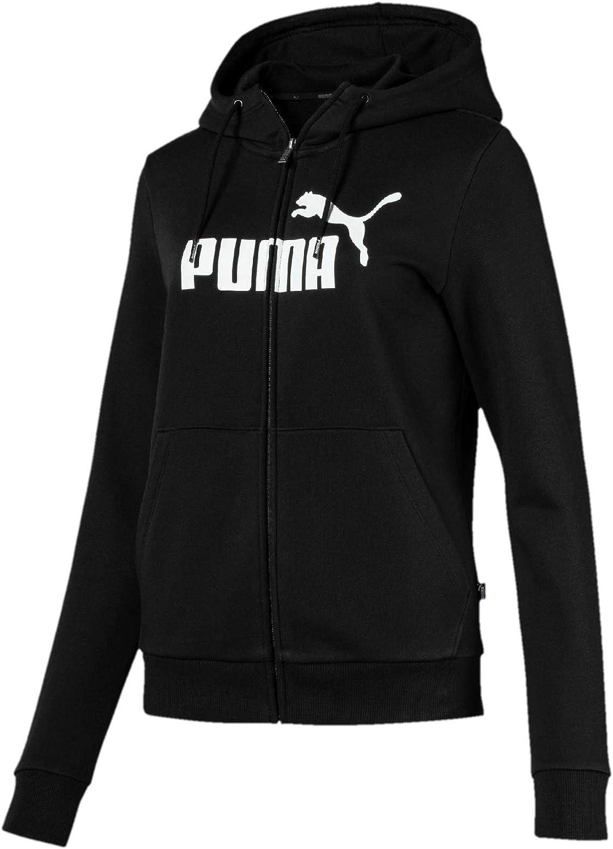 PUMA ESS Logo Hooded FL Sudadera, Mujer