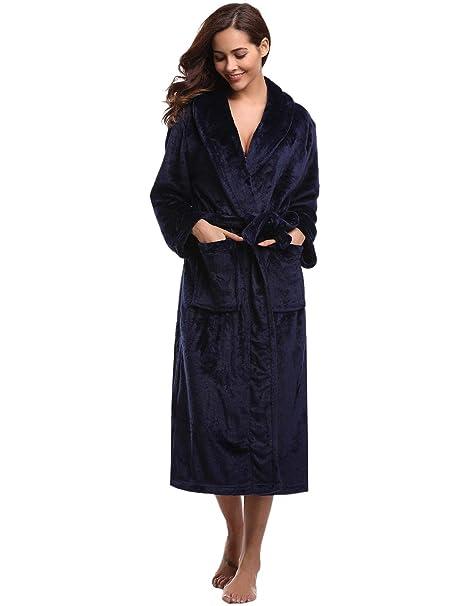 Abollria Albornoz Unisex Otoño Invierno Unisex Coral Fleece Mujer Batas Fashion Elegantes Vintage Cómodo Kimono Manga Larga con Bolsillos Camisón: ...
