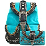 Justin West Trendy Western Rhinestone Leather Conceal Carry Top Handle Backpack Purse (Western Turquoise Backpack Wallet Set)
