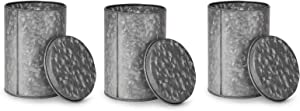Mind Reader Galvanized 3 Pc Set Canisters, Food Storage Containers, Kitchen, Coffee, Tea. Cookies, Candy, Sugar, One Size, Silver 3 Pack w Lids