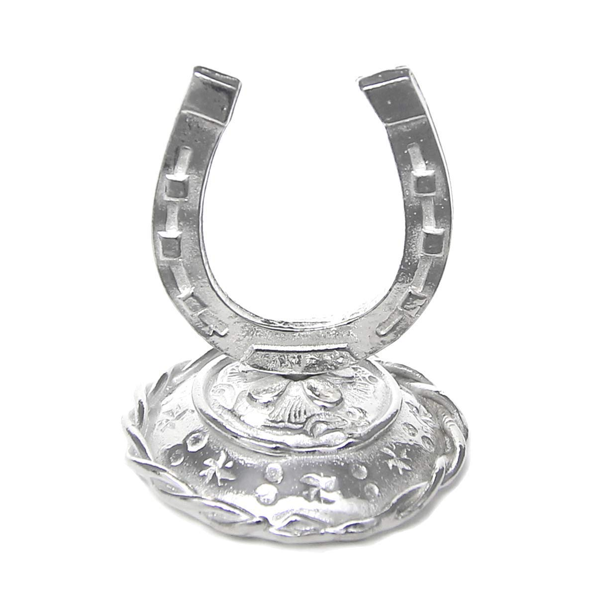 Lucky Horseshoe Ring Holder Tiny Ring Stand -Gift Boxed with Good Luck Story Card -Handcrafted Pewter Made in USA