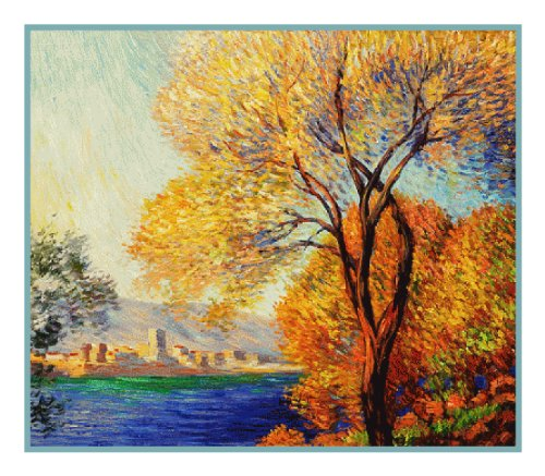 Antibes View of Salis by Claude Monet Counted Cross Stitch Pattern