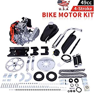 "49cc Bike Bicycle Engine Kit, Motorized Bike 4 Stroke, Gas Petrol Motorized Bike Engine Scooter Parts for 26"" Bikes (Shipped from US) (Silver, 49cc)"