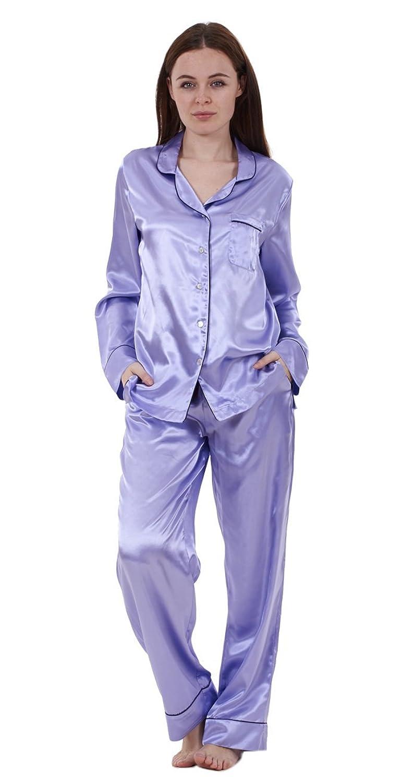 Ladies Plain Printed Silky Satin Pyjamas Long Sleeve Nightwear Silk PJ/'S