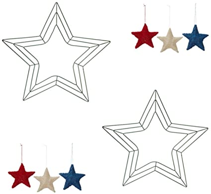 Amazon.com: 2 - 18 inch Star Shaped Green Metal Wreath Frames with ...