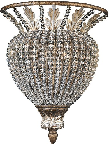 Crystorama 6721-WP Crystal Accents One Light Wall Sconce from Roosevelt collection in Bronze/Darkfinish, 5.00 inches
