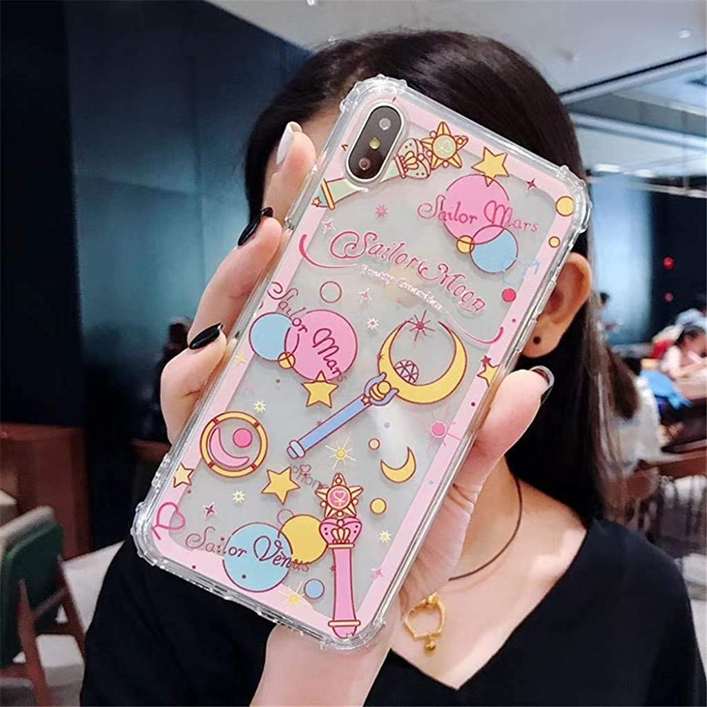 for iPhone Xs Max Case Cover, Japan Anime Cartoon Sailor Moon Case Shockproof Silicone Soft Phone Case Back Cover for iPhone Xs Max XR 6S 7 8 Plus (Moon, for iPhone 6/6s)