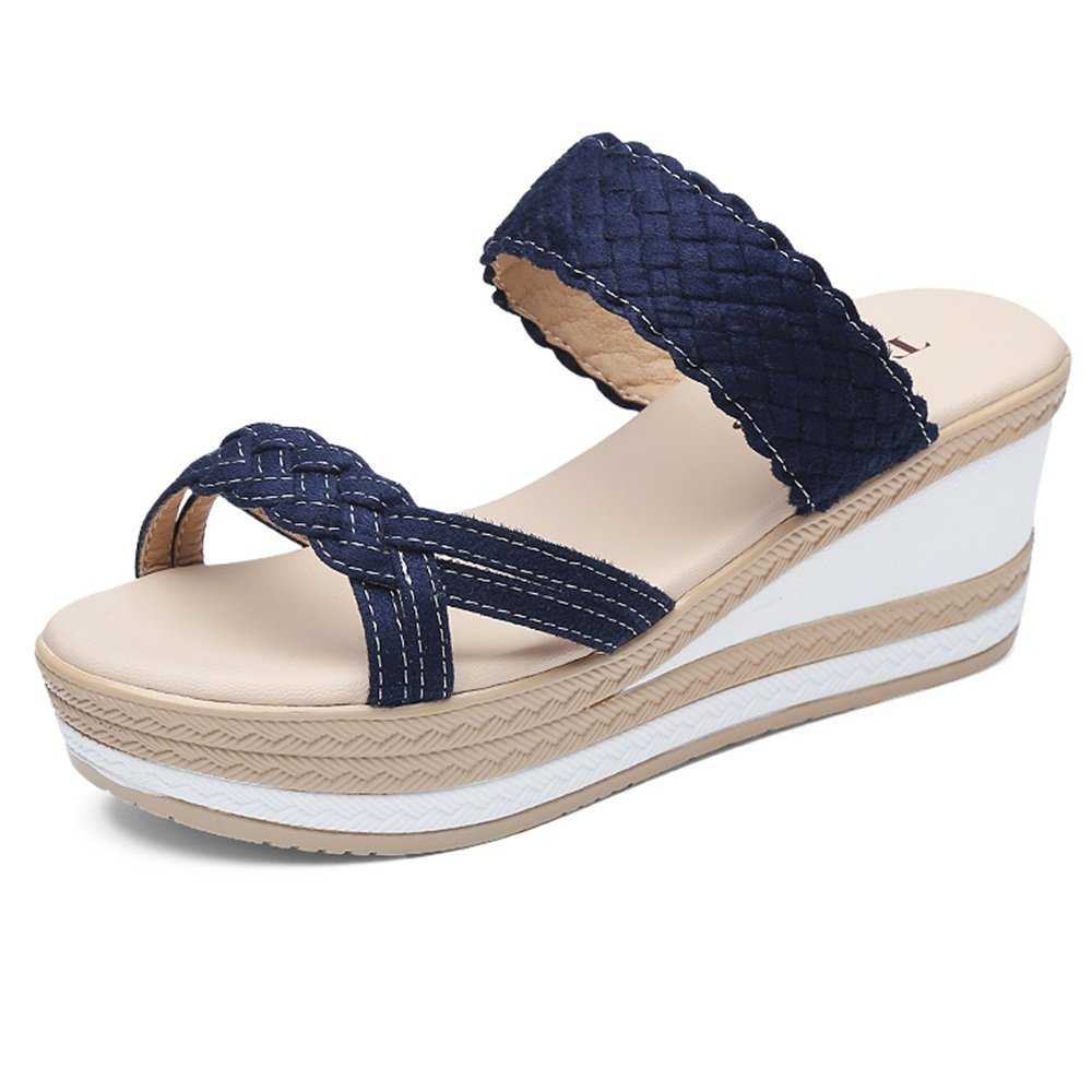 Chaussons ZHANGRONG- Cushion Walk Mesdames Toe mi-talon compensé Slip On Mules Sandales (Couleur : B, taille : EU38/UK5.5/CN38)