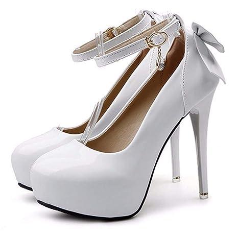 GTVERNH Scarpe da donna/Moda/Uno Spessore Di Dodici Centimetri Super High A Piattaforma, Con Una Sola Parola Con Una Sola Scarpa, Superficiale Di Lacca Trapano,…