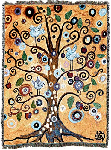 Pure Country Weavers | Tree of Life Natasha Westcoat Woven Tapestry Throw Blanket with Fringe Cotton USA 72x54