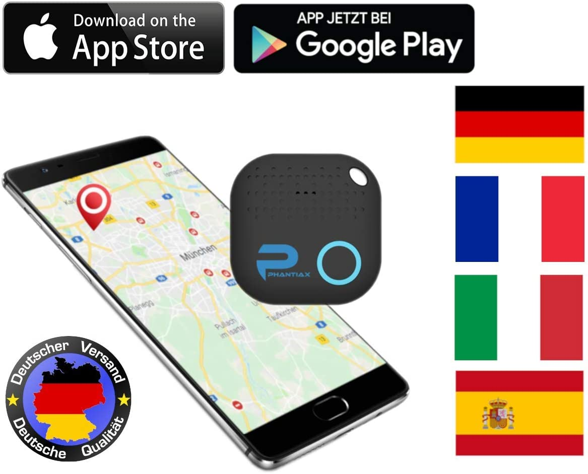 Phantiax - Localizador de Llaves con aplicación Bluetooth, localización GPS y Detector de Movimiento para Encontrar Llaves, Smartphones o Objetos, Color Negro: Amazon.es: Electrónica