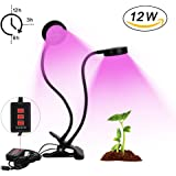 LED Growth Light, INKERSCOOP Horticultural Plant Growing Light Growing Lamps with Timer Remote Control(3H/6H/12H), Dual Head 32pcs 12W LED & 5 Modes Brightess Lamp for Indoor Plants Greenhouse
