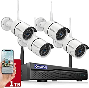 ?8CH Expandable?Security Camera System Wireless Outdoor, 8 Channel 1080P NVR With 1TB Hard Drive, 4Pcs 1080P CCTV Cameras For Home,OHWOAI Surveillance Video security System,Outdoor Wireless IP Cameras
