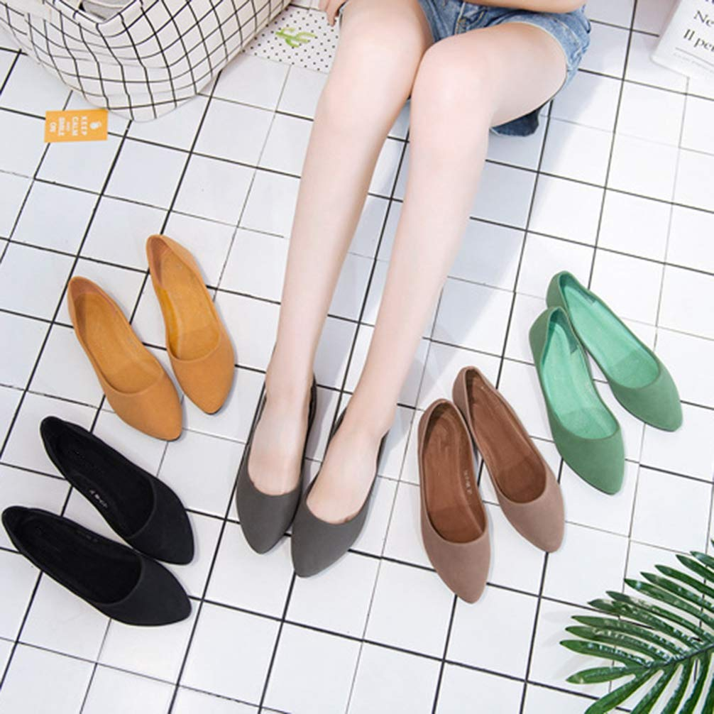 Women Flats Shoes Pointed Toe Solid Color Ballet Flats Shoes