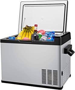 Linsion 42 Quart RV Refrigerator/Freezer Compact Vehicle Car Fridge Compressor Electric Cooler for Car,Truck,RV,Boat,Outdoor and Home use 12/24V DC and 90-250 AC,Cooling from 68°F to -13°F