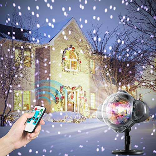 Oittm LED Snowfall Light Indoor/Outdoor, IP65 Waterproof Projector Light Timer Speed/Flash Control with RF Remote, Snow Falling Light for Christmas, Halloween, Party, Wedding or Garden