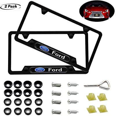 2 Pieces of Ford Luxury Car Matte Black Aluminum Alloy License Plate Frame, Suitable for American Standard Cars High-Grade License Plate Ford Vehicles: Automotive
