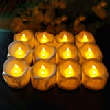 Hautton 12 Pack Flameless Candles, Warm Amber Yellow Flickering Light LED Tea Lights Battery Operated for Halloween Christmas Thanksgiving Day Celebration Parties -Candle
