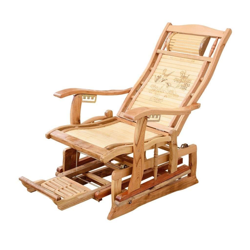 Miaoliangliang 竹材無重力リクライニングチェアラウンジチェア、フットマッサージ老人フォールドオフィス/ランチ休憩/浜辺/怠惰なリクライニングパティオチェア B07T1H3XVS