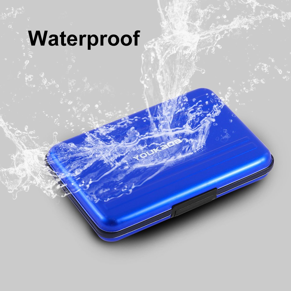 YOUKaDa Metal Memory Card Case Holder Water-resistant Pocket-sized SD holder for 8 SD Cards & 8 Micro SD Cards (2 Pack-Blue) by YOUKaDa (Image #6)